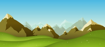 Illustration pour Illustration of a cartoon mountain range landscape in spring, summer or winter - image libre de droit