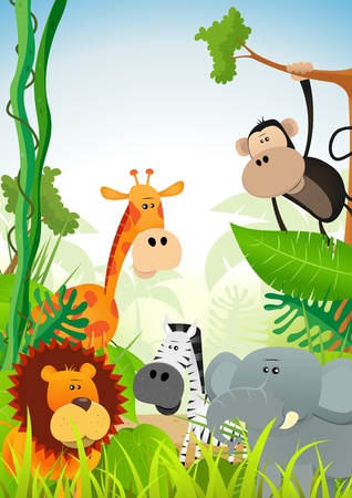 Illustration of cute cartoon wild animals from african savannah, including lion, elephant,giraffe, gazelle, monkey and zebra on jungle background