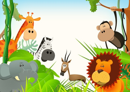 Illustration of cute various cartoon wild animals from african savannah, including lion, elephant,giraffe, gazelle, monkey and zebra with jungle background