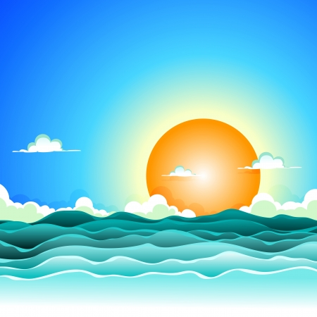 Illustration pour Illustration of a cartoon ocean waves background for spring or summer holidays vacations - image libre de droit