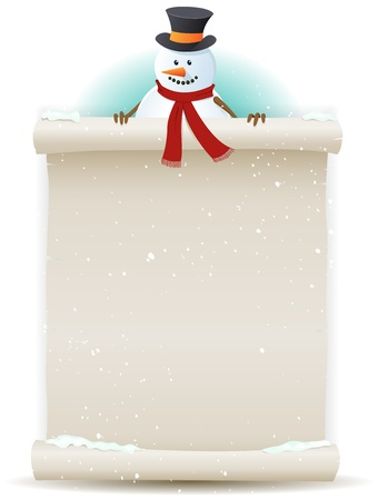 Illustration pour Illustration of a cartoon Santa snowman character holding white parchment sign for christmas and winter holidays or children gift list - image libre de droit