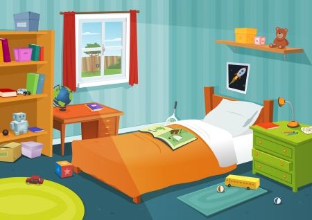 Illustration of a cartoon children bedroom with boy or girl lifestyle elements, toys, bed, books, desk, bookshelf, teddy bear