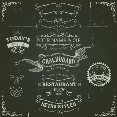 Photo for Illustration of a set of hand drawn sketched banners, ribbons for food, restaurant and beverage design elements on chalkboard background - Royalty Free Image