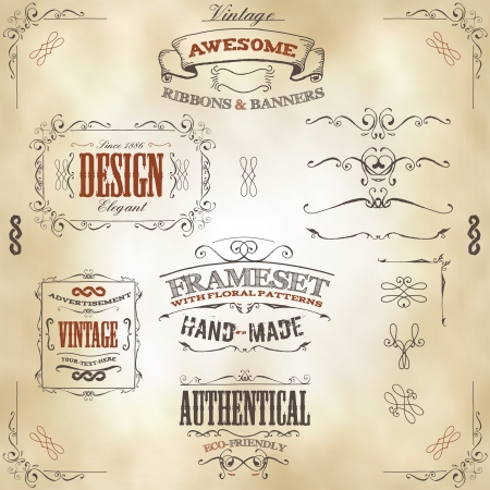 Illustration for Illustration of a set of hand drawn frames, sketched banners, floral patterns, ribbons, and graphic design elements on vintage leather or old paper background - Royalty Free Image