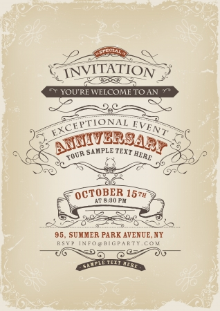 Ilustración de Illustration of a vintage invitation poster with sketched banners, floral patterns, ribbons, text and design elements on grunge frame background - Imagen libre de derechos