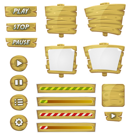 Illustration pour Illustration of a set of various cartoon design ui game wooden elements including banners, signs, buttons, load bar and app icon background - image libre de droit