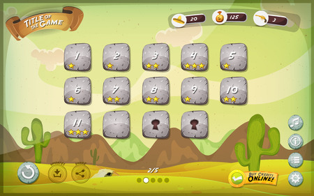 Illustration pour Illustration of a funny mexican western desert graphic game user interface background, in cartoon style with basic buttons and functions, status bar, for wide screen tablet - image libre de droit