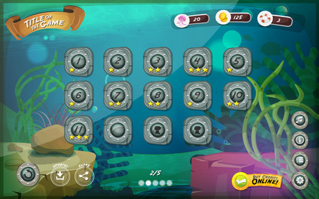 Illustration pour Illustration of a funny submarine sea graphic game user interface background, in cartoon style with basic buttons and functions, status bar, for wide screen tablet - image libre de droit