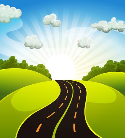 Ilustración de Illustration of a cartoon road driving from fields and meadows landscape in spring or summer season - Imagen libre de derechos