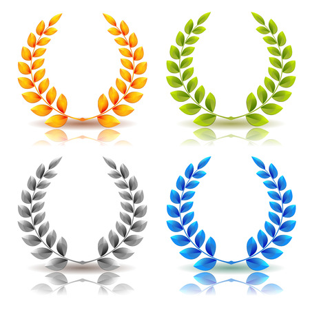 Illustration for Illustration of a set of elegant simple awards laurel wreath and crowns, in golden, green leaves, silver and diamond on white background - Royalty Free Image
