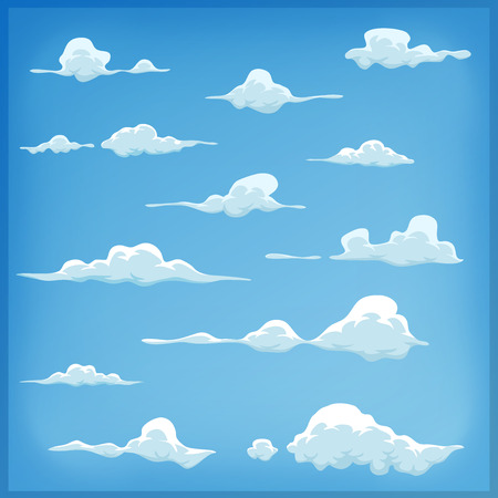 Illustration pour Illustration of a set of funny cartoon clouds, smoke patterns and fog icons, for filling your sky scenes or ui games backgrounds - image libre de droit