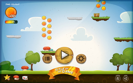 Illustration pour Illustration of a funny graphic platform game user interface design, in cartoon style with basic buttons, icons, status bar, seamless grass and spring landscape, for tablet pc - image libre de droit