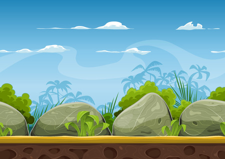Illustration pour Illustration of a cartoon seamless summer tropical beach ocean background with palm trees, coconuts, boulders, stones for ui game - image libre de droit