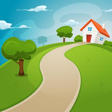 Ilustración de Illustration of a cartoon house on a top of a hill in spring or summer season, inside rounded green landscape - Imagen libre de derechos