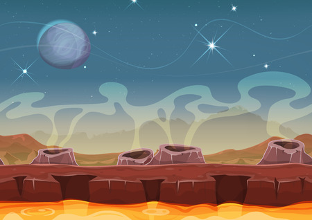 Illustration pour Illustration of a seamless cartoon funny sci-fi alien planet landscape background, with layers for parallax and volcano crater, magma river and stars for ui game - image libre de droit