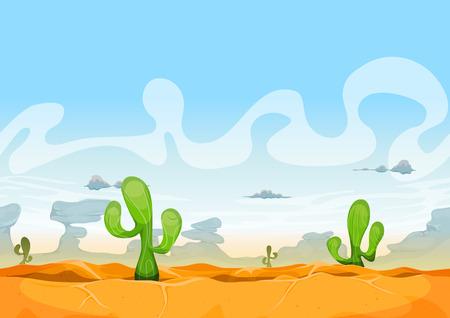 Photo pour Illustration of a seamless desert landscape background in the sunshine for ui game - image libre de droit