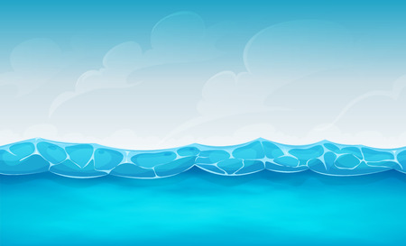 Ilustración de Illustration of cartoon wide seamless water waves and ocean patterns, for summer holidays vacations landscape, or repetitive background for ui game - Imagen libre de derechos