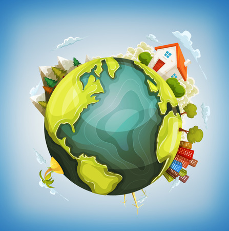 Ilustración de Illustration of a cartoon design earth planet globe with environment elements around, house, mountains, windmills, cityscape and ocean - Imagen libre de derechos