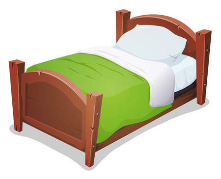 Ilustración de Illustration of a cartoon wooden children bed for boys and girls with pillows and green blanket - Imagen libre de derechos