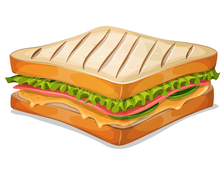 Illustrazione per Illustration of an appetizing cartoon fast food french sandwich icon, with ham slice, melted cheese, salad leaves and classic grilled bread crumb, for takeout restaurant - Immagini Royalty Free