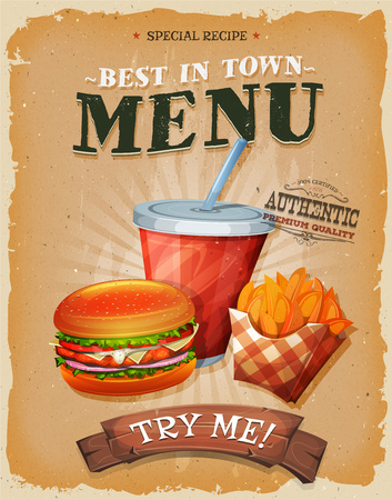 Illustration pour Illustration of a design vintage and grunge textured poster, with burger, cup of soda to drink, and french fries icon, for fast food snack and takeaway menu - image libre de droit