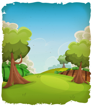 Illustration pour Illustration of a cartoon summer or spring rural landscape, with trees, meadows and harvest fields, and cloudscape over blue sky with grunge frame - image libre de droit