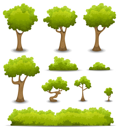 Illustration of a set of cartoon spring or summer forest trees and other green forest elements, bonsai, foliage, bush and hedges