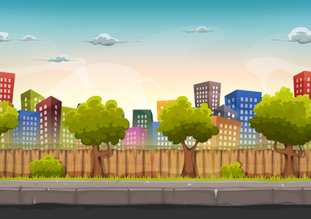 Illustration pour Illustration of a cartoon seamless urban city landscape with fancy buildings and skyscrapers, for game ui - image libre de droit