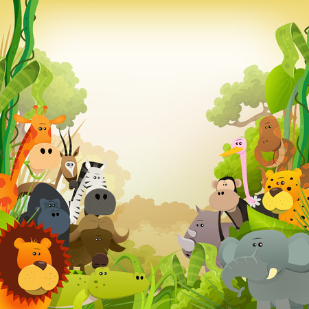 Illustration pour Illustration of cute various cartoon wild animals from african savannah, including lion, gorilla, elephant, giraffe, gazelle, gorilla monkey, ape and zebra with jungle background - image libre de droit