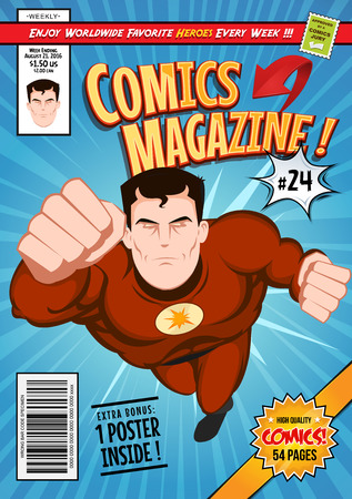 Illustration pour Illustration of a cartoon editable comic book cover template, with super hero character flying, titles and subtitles to customize, and wrong bar code and label - image libre de droit