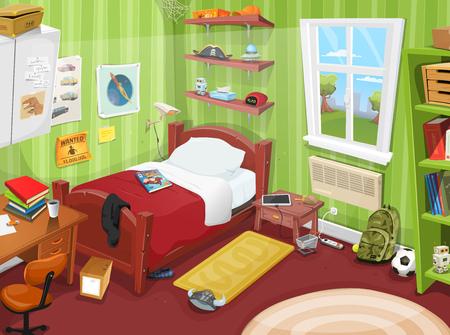 Ilustración de Illustration of a cartoon kid or teenager bedroom with boy or girl lifestyle elements, toys, bed, books, desk, bookshelf, and accessories in mess - Imagen libre de derechos