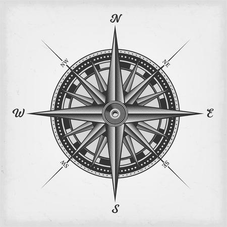 Ilustración de Illustration of a black and white nautical compass rose on vintage old textured background - Imagen libre de derechos