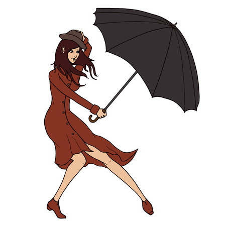 Young woman holding an umbrella against the wind illustration