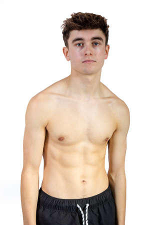 Photo for Portrait of a caucasian fit shirtless young adult - Royalty Free Image