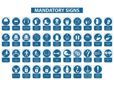 Illustration pour set of mandatory signs on white background - image libre de droit