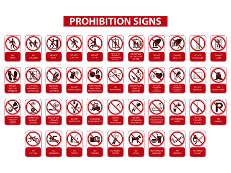 Illustration pour set of prohibition signs on white background - image libre de droit