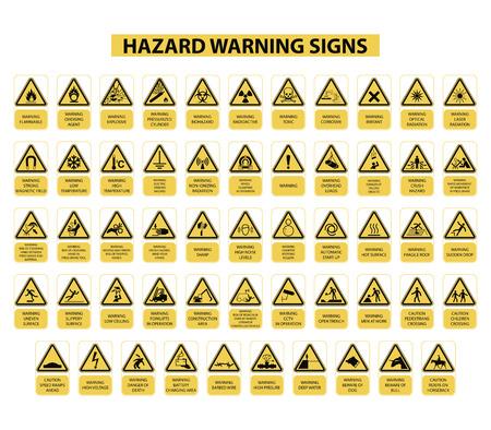 Ilustración de set of hazard warning signs on white background - Imagen libre de derechos