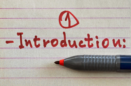 Photo for Closeup of a handwritten word Introduction with red felt pen - Royalty Free Image
