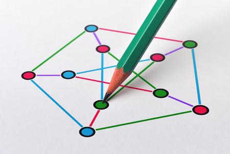 Foto de Example of a nonplanar cubic graph and edge and vertex coloring - Imagen libre de derechos