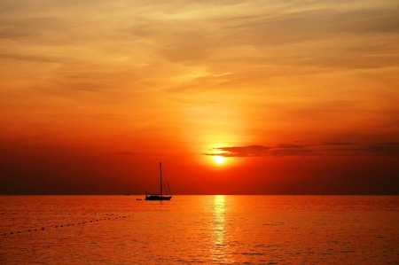 Photo for sailing boat sunset at kata beach phuket  - Royalty Free Image
