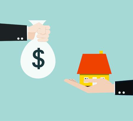 Ilustración de hand bring money for home  - Imagen libre de derechos