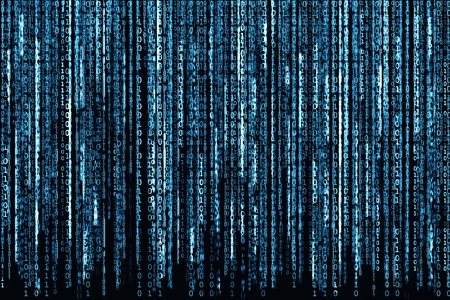 Photo pour Big Blue Binary code as matrix background, computer code with binary characters shining. - image libre de droit