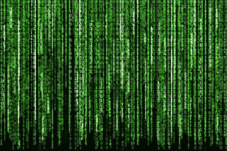 Photo pour Big Green Binary code as matrix background, computer code with binary characters shining. - image libre de droit