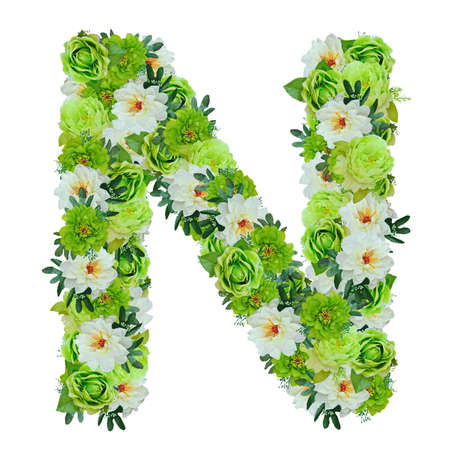 Photo pour Letter N from green and white flowers isolated on white with working path - image libre de droit