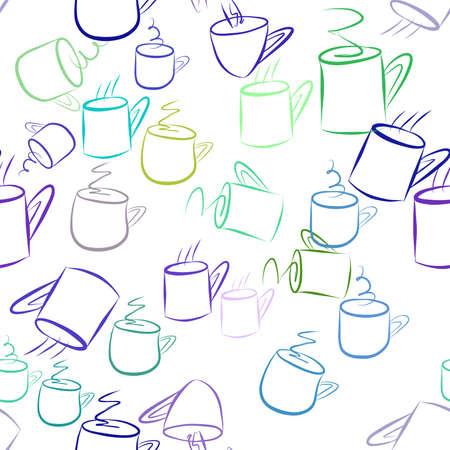 Ilustración de Seamless decorative hand drawn coffee cup art illustrations. Good for design texture & background. Cartoon style vector graphic. - Imagen libre de derechos