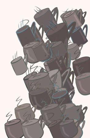 Ilustración de Abstract coffee cup illustrations background. Cartoon style vector graphic. - Imagen libre de derechos