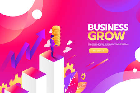 Illustration for Businessman looking for investment opportunity standing on money growth graph. Profit Stock Market. Investor business concept. Vector flat cartoon illustration flat design. - Royalty Free Image