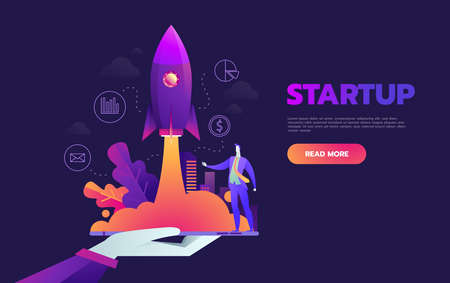 Illustrazione per Startup launching process isometric infographic technology online. Business concept vector. Rocket space ship taking off with micro creative people. - Immagini Royalty Free