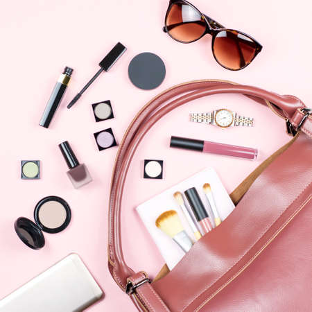Photo for Fashion woman feminine flat lay with beauty products and accessories on pink background - Royalty Free Image