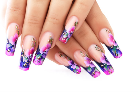 Photo pour Female hand with floral art design nails  . - image libre de droit